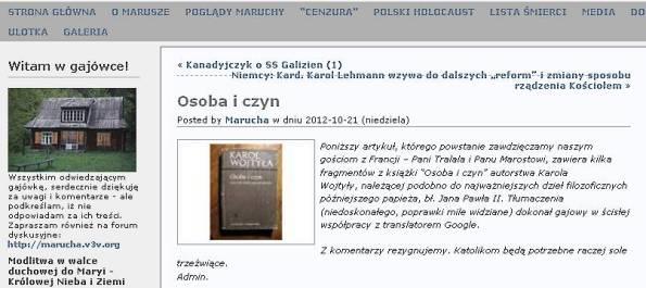 Osoba i czyn zawiera Maruch na 21_10_2012  wc 806 w