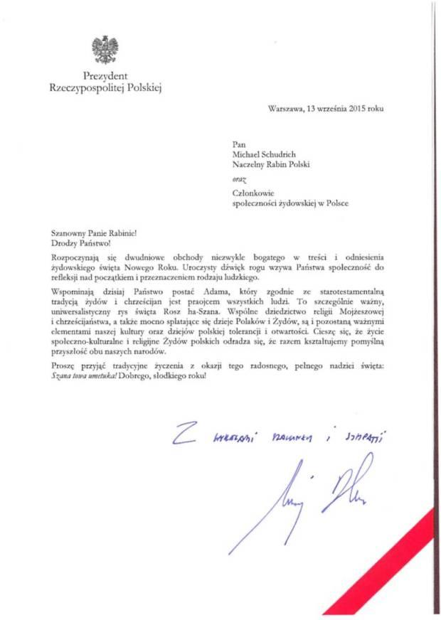 Prezydenta RP Andrzej Duda potwierdza budowę Rzczypospoliej Oboja Narodów - Zydow i Polakow 780 w