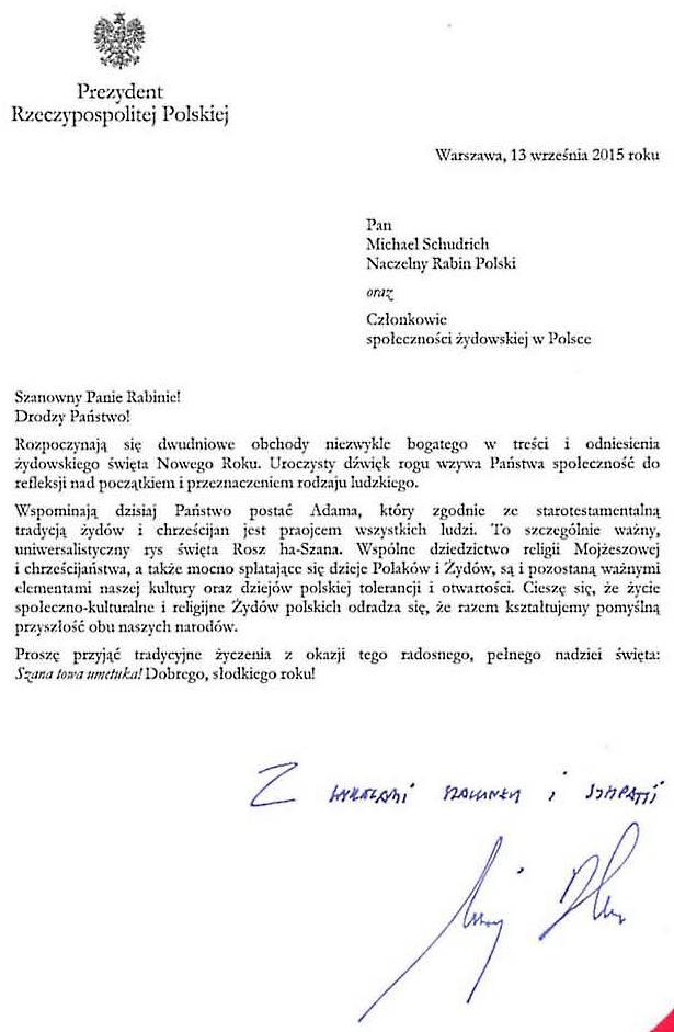 Prezydenta RP Andrzej Duda potwierdza budowę Rzczypospoliej Oboja Narodów - Zydow i Polakow 780 www 615